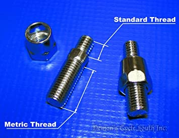 Standard to Metric Adapter Bolts for Mirrors  Use Harley Mirrors on Honda  Yamaha Kawasaki Suzuki