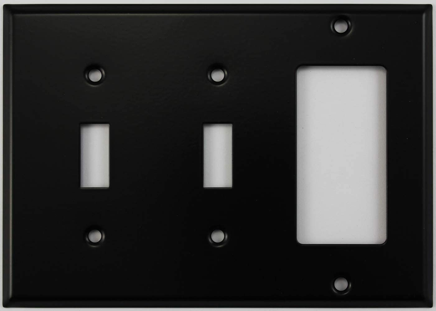Black 3 Gang Combo Wall Plate 2 Toggle Light Switches 1 Gfci Rocker Opening