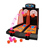 Tabletop Mini Basketball Shooting Game - Wishtime SH63788 Desktop Game 2 Players Shootout Hoops Basketball with Scoring Device for Children Kids