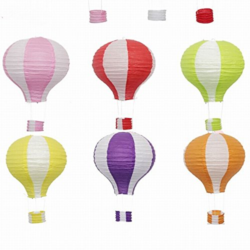 Energi8_DIY 1pcs (12inch), Pink&White Paper Lantern Hot Air Balloon Sky Lanterns Decoration