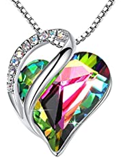 """Leafael Infinity Love Heart Pendant Necklace Birthstone Crystal Jewelry Gifts for Women, Silver-tone, 18""""+2"""", Presented by Miss New York"""