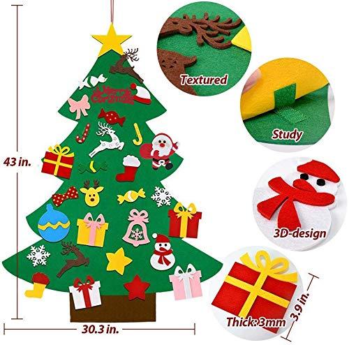 Mansalee 3.3ft DIY Felt Christmas Tree Set + 30pcs Detachable Ornaments, Wall Hanging Xmas Gifts for Christmas Decorations Christmas Ornamentst