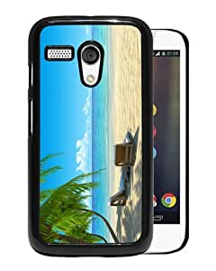 Unique And Durable Custom Designed Case For Motorola Moto G With Chairs on Beach W Palmtrees Black Phone Case