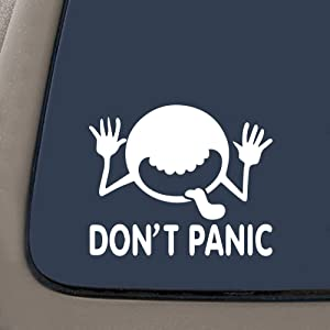 """NI151 Don't Panic Hitchhikers Guide to the Galaxy Car Window Vinyl Decal Sticker 7"""" Wide"""