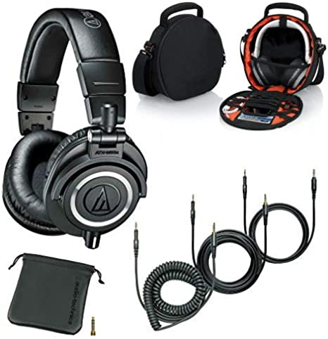 Audio-Technica ATH-M50x Professional Studio Monitor Headphones Black and Case for Headphones and Accessories Bundle
