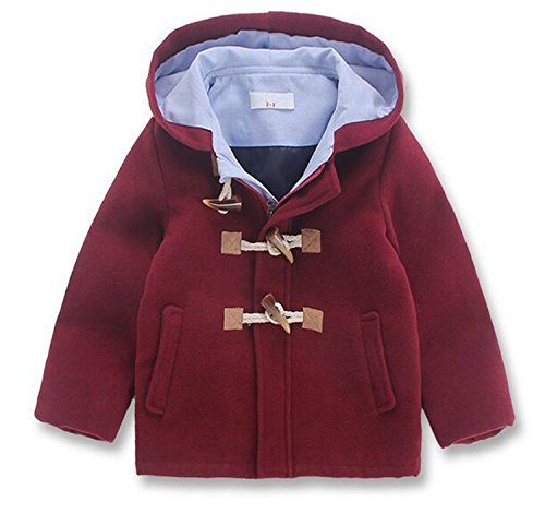 Little Boys' Classic Wool Blend Hooded Duffle Coat Toggle Coat (1-2Years, Red)