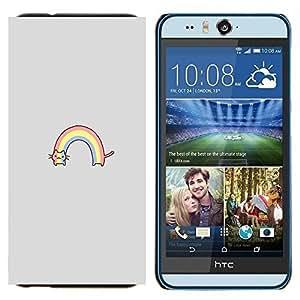 TECHCASE---Cubierta de la caja de protección para la piel dura ** HTC Desire Eye ( M910x ) ** --arco iris del gato arco iris dibujo lindo