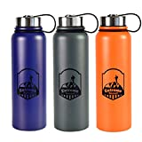 Stainless Steel Water Bottle -- 40 oz Wide Mouth -- Double Walled Vacuum Insulated -- BPA Free