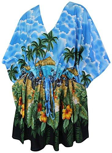 La Leela todo en 1 salón desgaste Caribe likre suaves túnica superior ropa playa con cordón ocasional la motocicleta más Szie caftán elástico señoras la piscina fiesta en la playa dcorto cubren hasta Azul