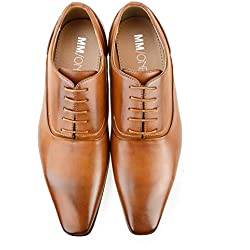 MM/ONE Mens Oxford Shoes Dress Lace Up Shoes Straight Tip Shoes Brown 45 EU (US Men's 11 M)