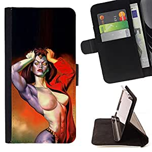 Ihec-Tech / Negro Flip PU Cuero Cover Case para Apple Iphone 6 PLUS 5.5 - Sexy Girl Rouge enfer Biker