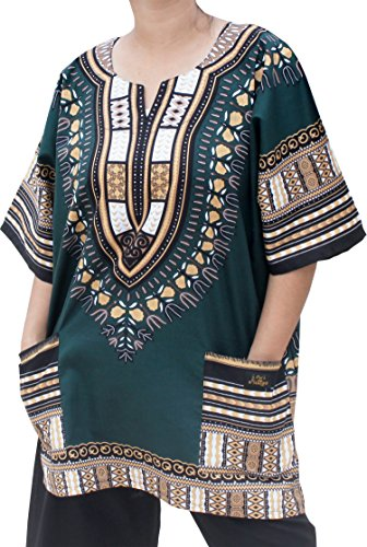 Raan Pah Muang RaanPahMuang Unisex African Dashiki Kaftan Shirt All Sizes XS - 7XL All Colours