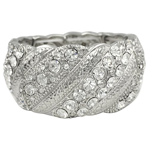 Designer Look Silver Tone Stretch Bracelet (Textured Lines Rhinestones) (Silver Cuff Wire Tone)