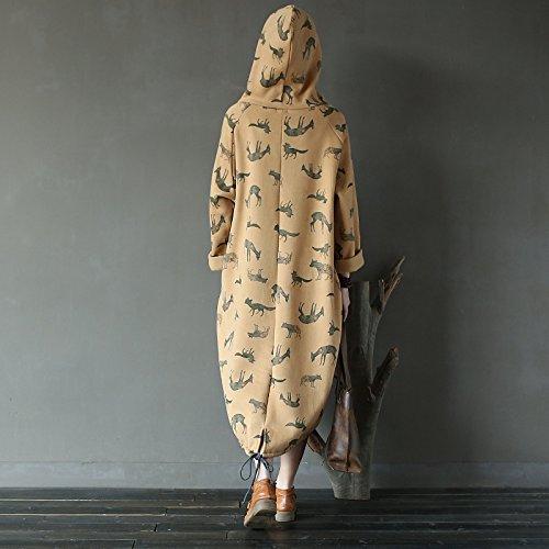 Aeneontrue Con Lunga Felpa Tasche Manica Donna Dolcevita Kaki Abito Laterali nqHX4Uc