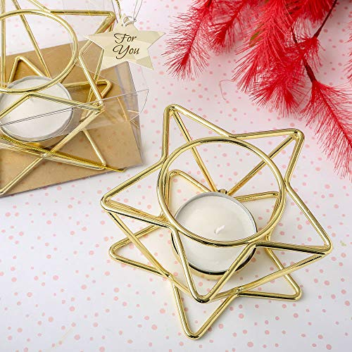 - FavorOnline Celestial Themed Star Shaped Gold Wire Tealight Holder, 24