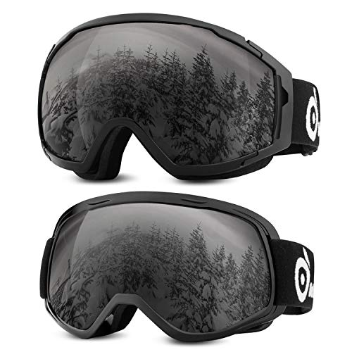 (Odoland 2 Pack Ski Goggles for Adult and Youth, Anti-Fog and UV Protection Snow Goggles Compatible for Ski Helmet)