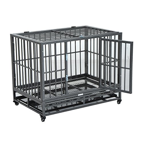 "PawHut 36"" Heavy Duty Steel Dog Crate Kennel Pet Cage w/Wheels - Grey Vein"