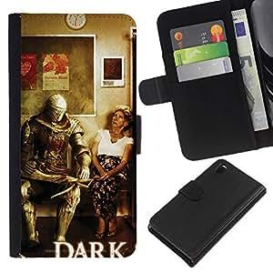 LECELL--Cuero de la tarjeta la carpeta del tirón Smartphone Slots Protección Holder For Sony Xperia Z3 D6603 -- Oscuro s0ul Guerrero divertido --