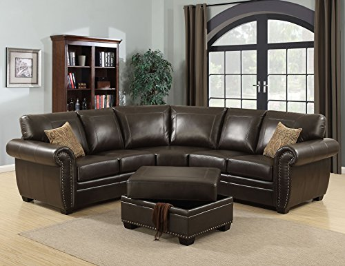Leather 3 Piece Dark Brown (AC Pacific Louis Collection Traditional 3-Piece Upholstered Leather Living Room Sectional with Storage Ottoman and 2 Accent Pillows, Brown)