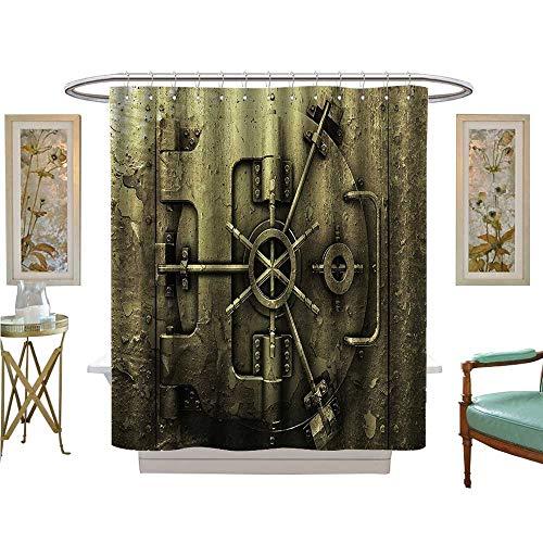 (Shower Curtains Fabric Style Bank Vault Safe Secure Precious Treasure Protecti Pritn Bathroom Decor Set with Hooks)
