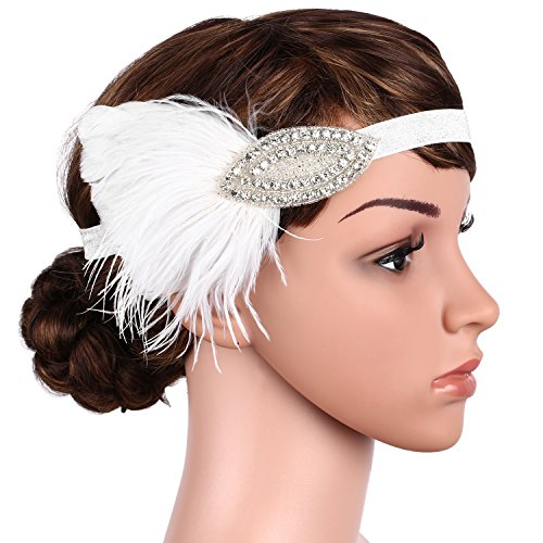 BABEYOND Vintage 1920s Headband 20s Flapper Feather Headpiece Crystal Great Gatsby Hair Accessories for Art Deco Themed Party (White)