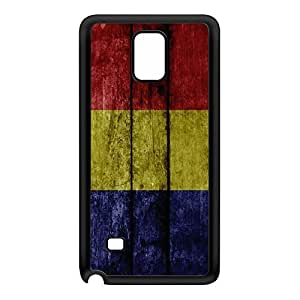 Grunge Wood Flag of Romania - Romanian Flag Black Silicon Rubber Case for Galaxy Note 4 by UltraFlags + FREE Crystal Clear Screen Protector