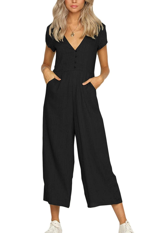 Fasumava Women Cotton Jumpsuits Summer Casual Short Sleeve Wide Leg Rompers