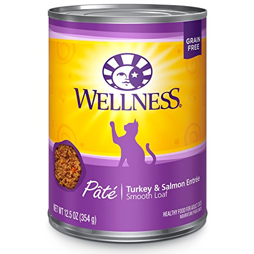 Wellness Natural Grain Free Wet Canned Cat Food, Turkey & Sa