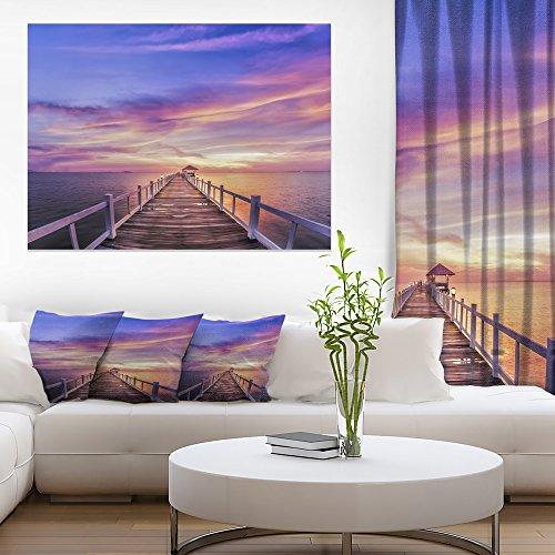 Design Art PT10614-40-30 Wooden Sky-Sea Pier and Bridge Wall Art Canvas-40X30, 30'' H x 40'' W x 1'' D 1P Purple from Design Art