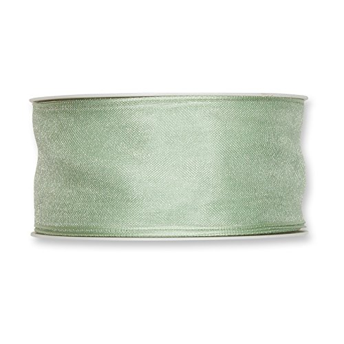 (FloristryWarehouse Pale Mint Organza ribbon 1.5 inches wide wired fabric x 27 yards roll. Made in Germany)