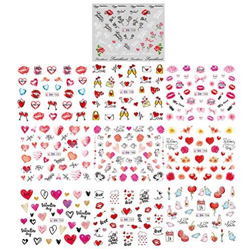 Lurrose 10 Sheets Love Nail Sticker Valentine