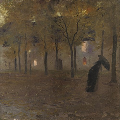 Gaston La Touche - The Mall or Sous la pluie (In the Rain), Canvas Art Print, Size 18x20, Canvas Print Rolled in a - Mall Pics Of America Of The