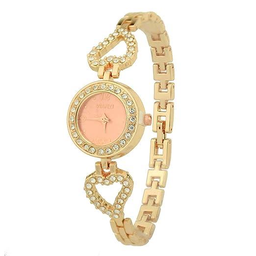 BBestseller Moda Relojes de Pulsera para Mujeres Reloj Pulsera de Diamantes Completo Pulseras Actividad Watch (Oro Rosa): Amazon.es: Relojes