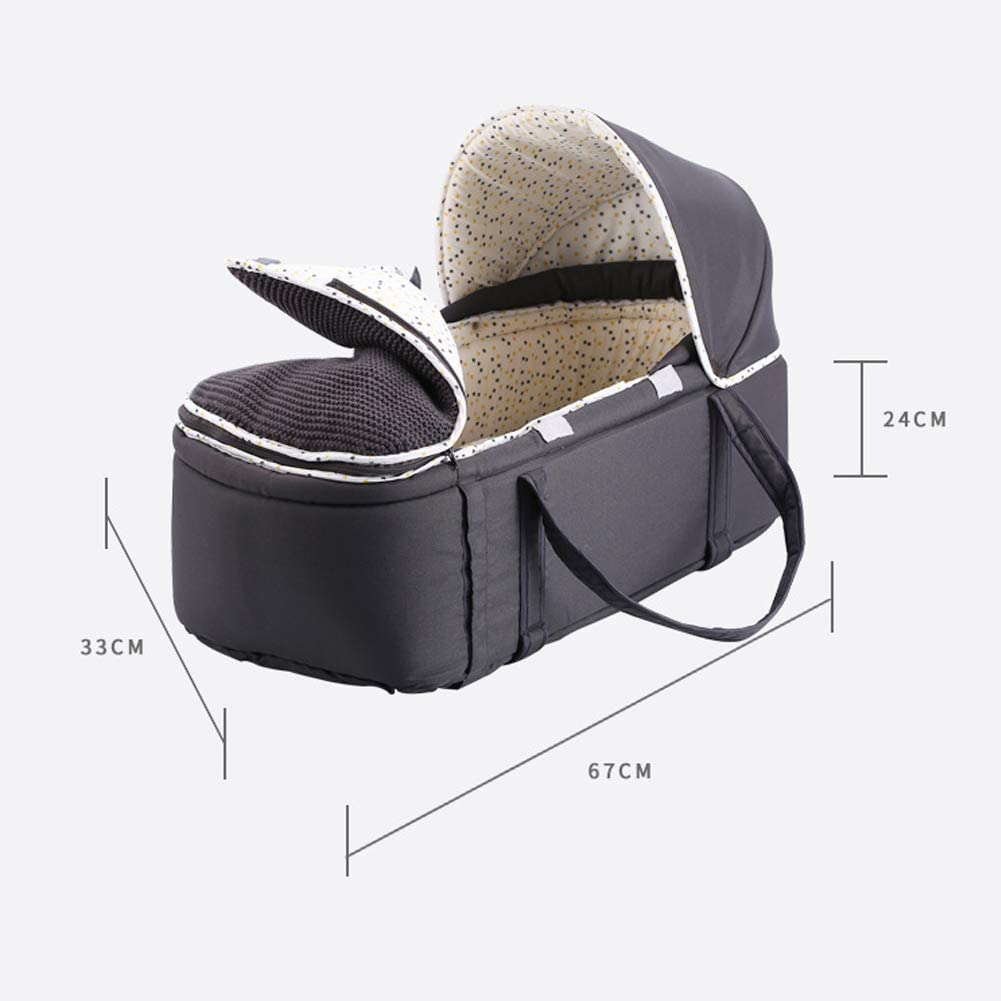 Gray black Baby Carrier Portable Cradle Protect Baby from Cold and Winter Weather,Baby Portable Basket Baby Basket with Hood,Keeping Your Baby Cozy