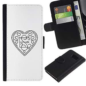 A-type (Initials E Loves S Heart White Floral) Colorida Impresión Funda Cuero Monedero Caja Bolsa Cubierta Caja Piel Card Slots Para Samsung Galaxy S6