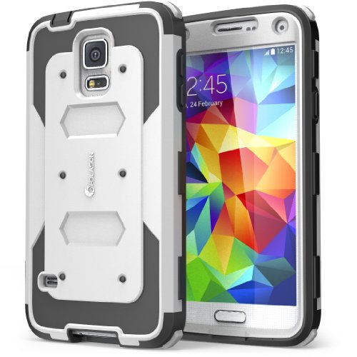 Galaxy S5 Case, i-Blason Armorbox Dual Layer Hybrid Full-body Protective Case with Front Cover and Built-in Screen Protector / Impact Resistant Bumpers (White) (White Case Protector)