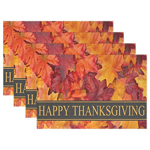 ndy Thanksgiving Card Personalized Table Mats for Kitchen Dinner Table Washable PVC Non-Slip Insulation Set of 6 ()