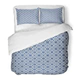 Emvency Bedding Duvet Cover Set Twin (1 Duvet Cover + 1 Pillowcase) Chinese Window Tracery White Diamonds Brackets Chevrons On Blue Ancient Ethnic Hotel Quality Wrinkle and Stain Resistant