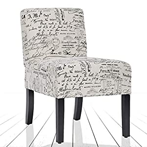 BestMassage Modern Design Fabric Armless Accent Dining Chairs Sofa with Solid Wood Legs
