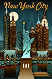 New York City, New York - Retro Skyline (9x12 Art Print, Wall Decor Travel Poster)