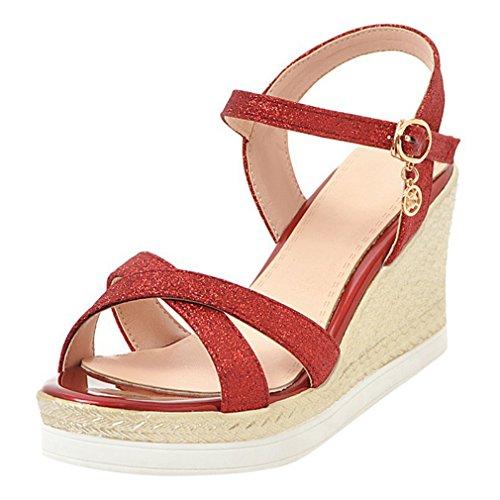YE Damen Keilabsatz Knöchelriemchen Sandalen High Heels Plateau mit Riemchem Glitzer Elegant Schuhe Rot