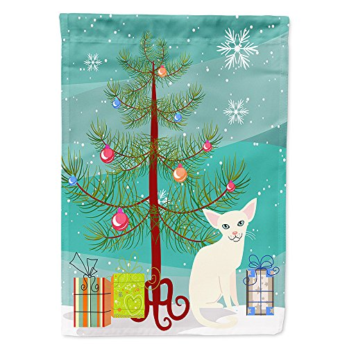 Caroline's Treasures BB4420GF Garden Size Foreign White Cat Merry Christmas Tree Flag, Multicolor, Small