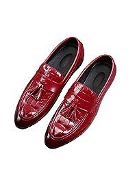CMM Men's Modern Slip-on Dress Shoes Modern Tassel Slip-on Leather Lined Driver Loafer Plus Size