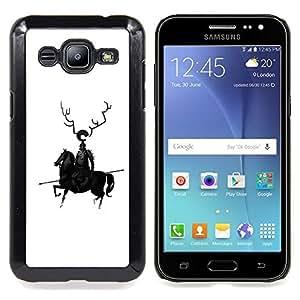- Horse Black Knight Warrior Spear Robot Art Horns/ Duro Snap en el tel????fono celular de la cubierta - Cao - For Samsung Galaxy J2