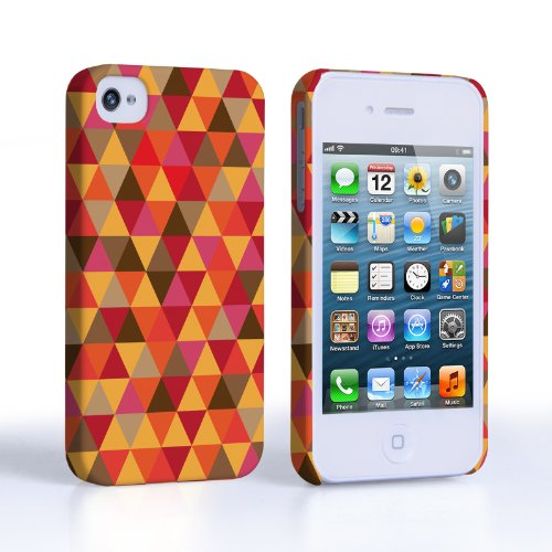 Caseflex iPhone 4 / 4S Hülle Rot / Orange Geometrisch Dreiecke Muster Hart Schutzhülle
