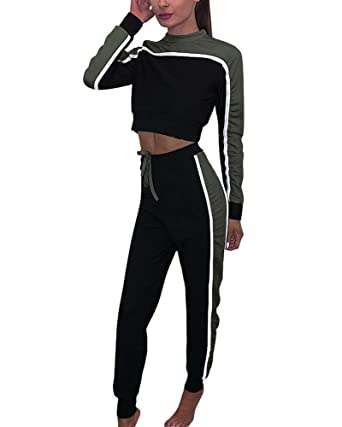 Tomwell Femmes Jogging Yoga Survêtement Sports Suits Casual Manches Longues  Crop Top Sweat-Shirt à 9706a13f998
