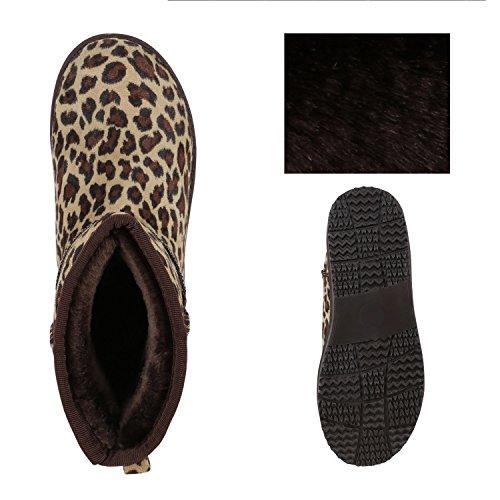 Stiefelparadies Damen Schlupfstiefel Warm Gefütterte Stiefel Stiefeletten Kunstfell Boots Glitzer Schuhe Strass Nieten Blumen Profilsohle Flandell Leopard