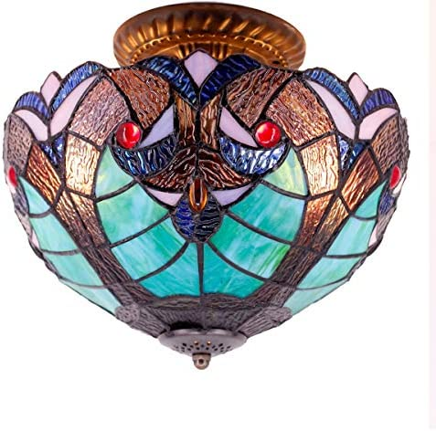 Tiffany Ceiling Light Fixture Semi Flush Ceiling Lamp 12 Inch Stained Glass Liaison Lampshade for Dinner Room Pendant 2 Light S160G WERFACTORY