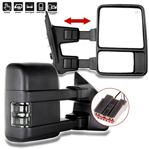 Towing Mirrors for Ford SCITOO Exterior Accessories Mirrors for 2003-2007 Ford F250 F350 F450 F550 Super Duty with Amber Turn Signal Heated Manual Controlling Telescoping and Folding Features