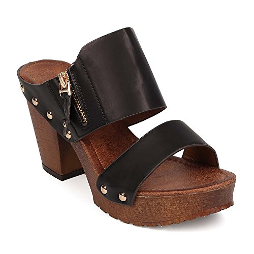 Wooden Slides Sandals (ShoBeautiful Slide On Platform Sandals With Chunky Heels Cute Sexy Slipper Studded Embossed Block heel Mule Slides Sandal Tan 7.5)